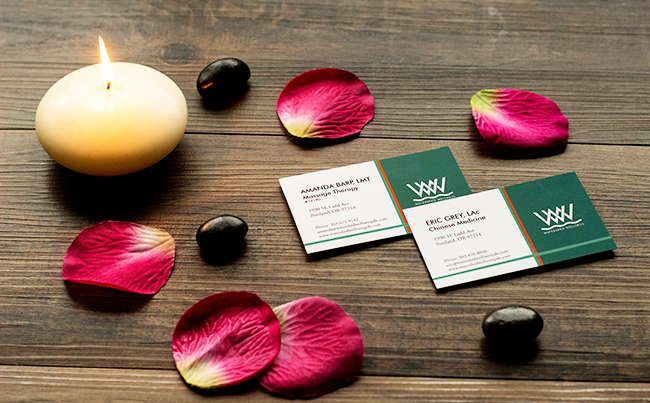 Business Card Design for a Health and Wellness Clinic in Portland
