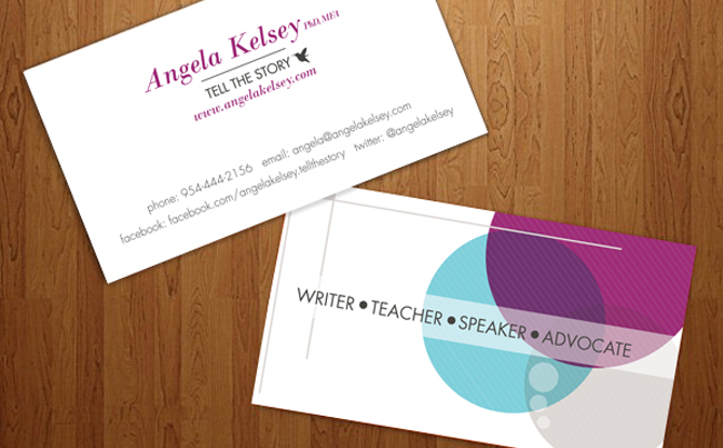 Business Card Design for a Strong Personal Storyteller & Speaker